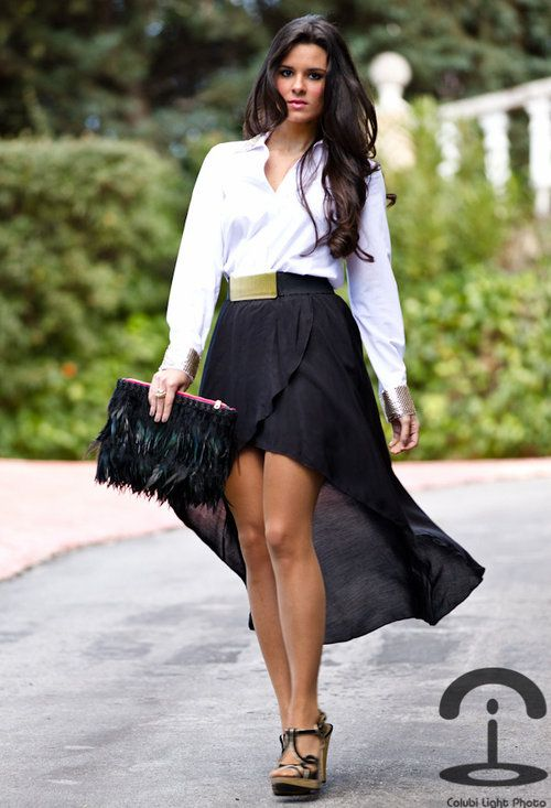 black hi low skirt white blouse for my of fashion