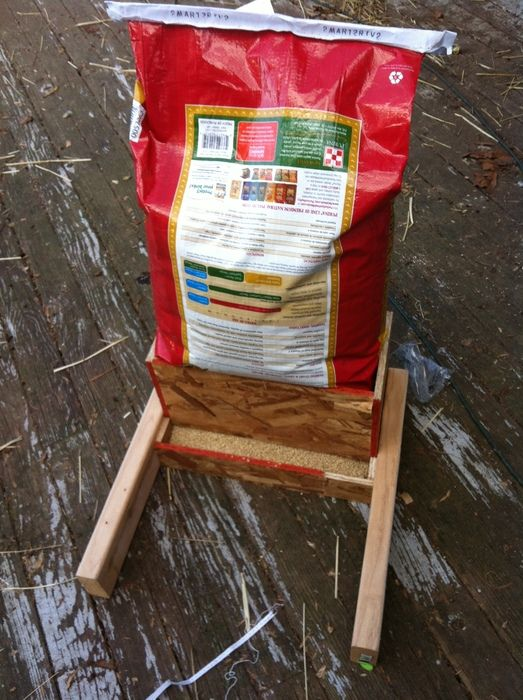 NO BRAINER Feeder!!! Bag can do what it already does - hold feed, and the collar just directs it down the feed ramp... DIY AND you know exactly how much feed is left!!