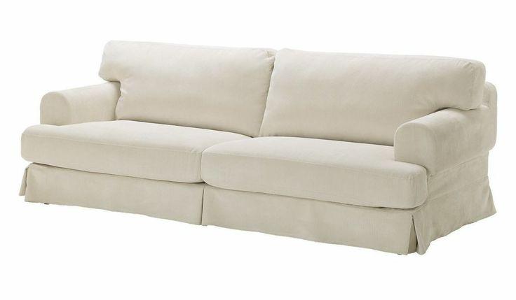 Ikea hovas 3 seat sofa slipcover graddo off white for Couch 0 interest