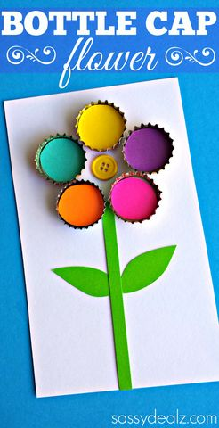 Bottle Cap Flower Craft for Kids - It's a great idea for a homemade #MothersDay card! (pinned by Super Simple Songs) #preschool #kidscrafts