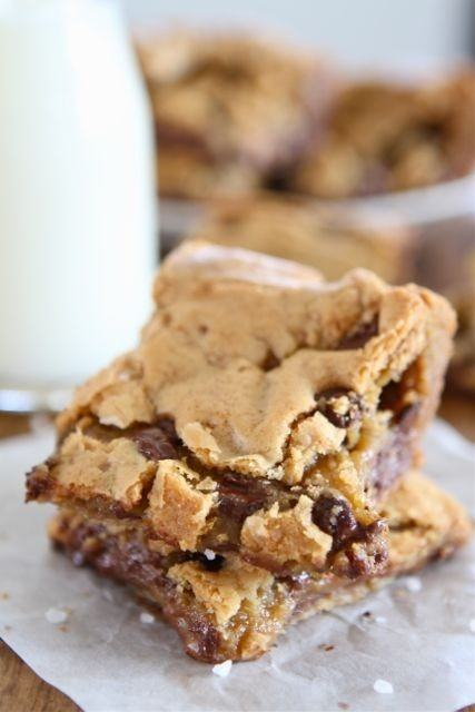 Chocolate Chip Salted Caramel Cookie Bars by twopeasandtheirpod: Rich ...