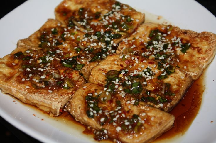 Pan Fried Tofu with Spicy Sauce | Recipes - Lean and Green | Pinterest
