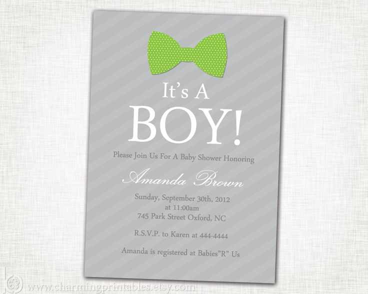 bow tie baby boy shower invitation boy shower invite printable diy