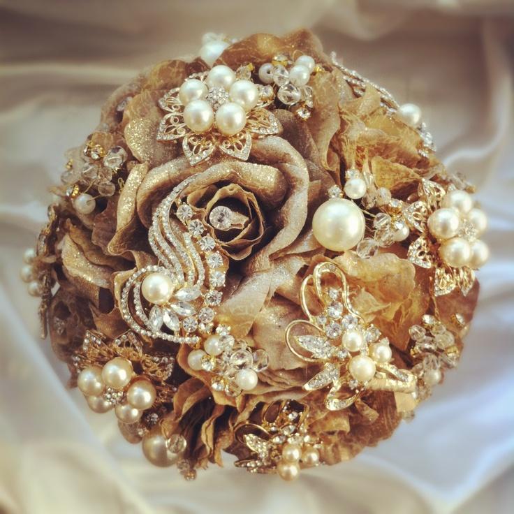 Golden Bridal Bouquet : Golden aurora bouquet vintage jewelled bridal bouquets