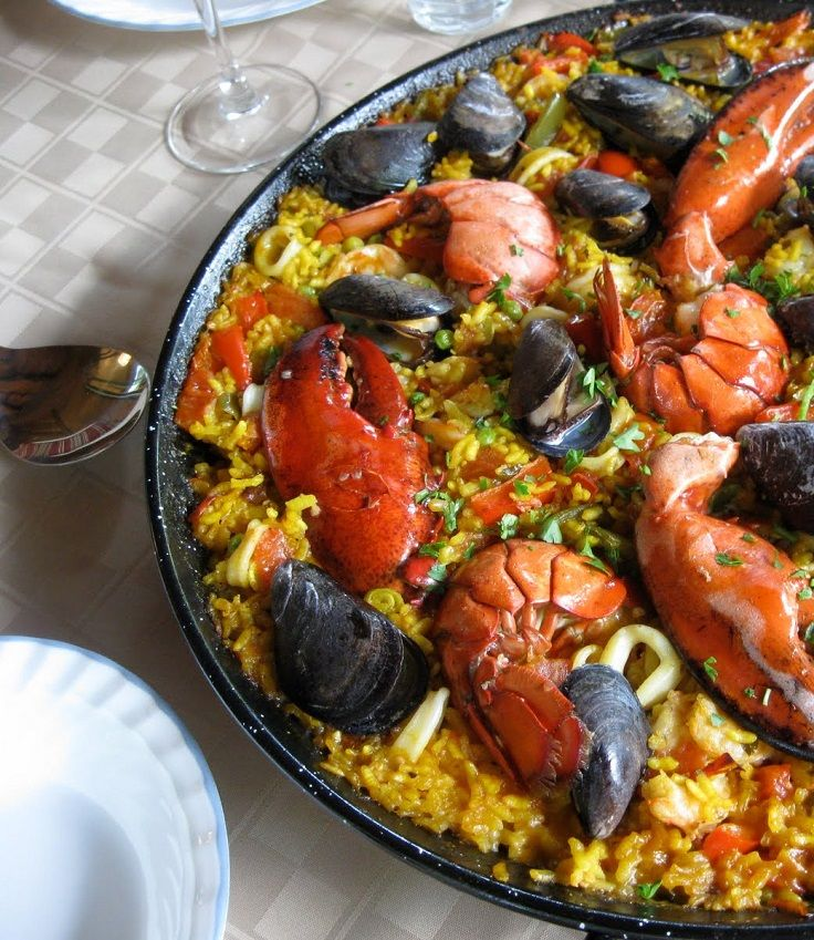 ... paella paella with wild mushrooms spicy andalusian seafood paella