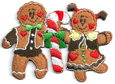 HOLIDAY GINGERBREAD BOY & GIRL IRON ON APPLIQUE