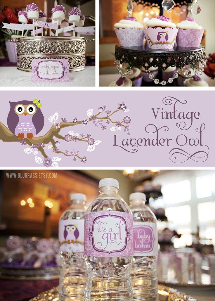 DIY printable baby shower or birthday party package - vintage lavender owl. $30.00, via Etsy.