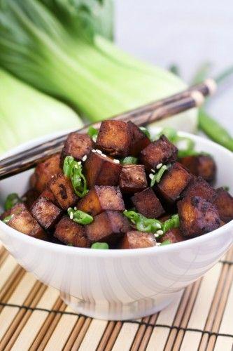 Easy baked tofu - what's not to love? tamari, honey, rice wine vinegar ...