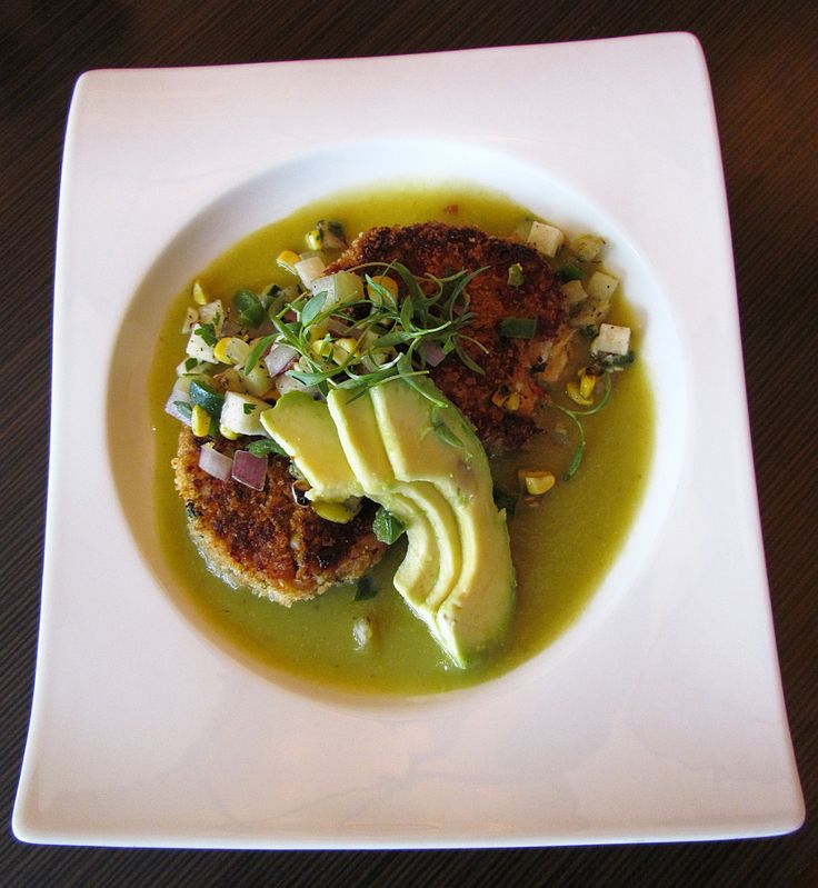 Gulf Blue Crab Cakes with Roasted Tomatillo Salsa, Charred Chayote ...