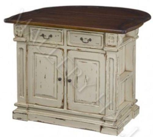 Tuscan Black Cream Kitchen Island Distressed Cabinet $3,200 00