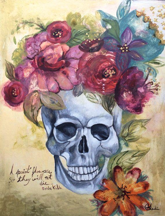 Frida Kahlo inspired skull flowers art print