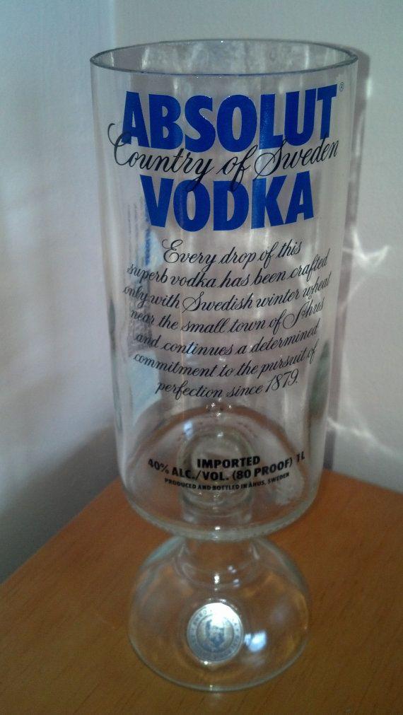 Liquor bottle gobblet vase for Liquor bottle vases