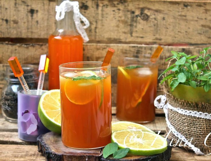 Orange Iced Tea with Mint and Lime | Drink Me Baby | Pinterest
