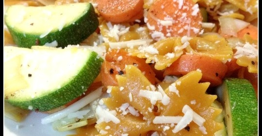 Farfalle with Zucchini, Carrots, Fennel, Marjoram & Parmigiano Cheese ...