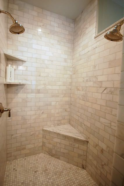 Corner Bench And Two Shower Heads Ensuite Ideas Pinterest