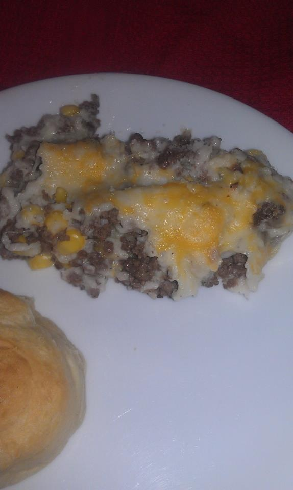 Shepard's Pie: Hamburger, Corn, Mashed Potatoes & Cheese...easy, quic...
