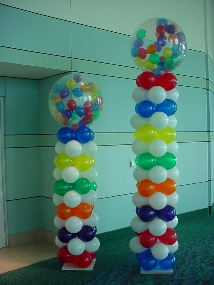 How to make balloon columns baby shower pinterest for Balloon decoration how to