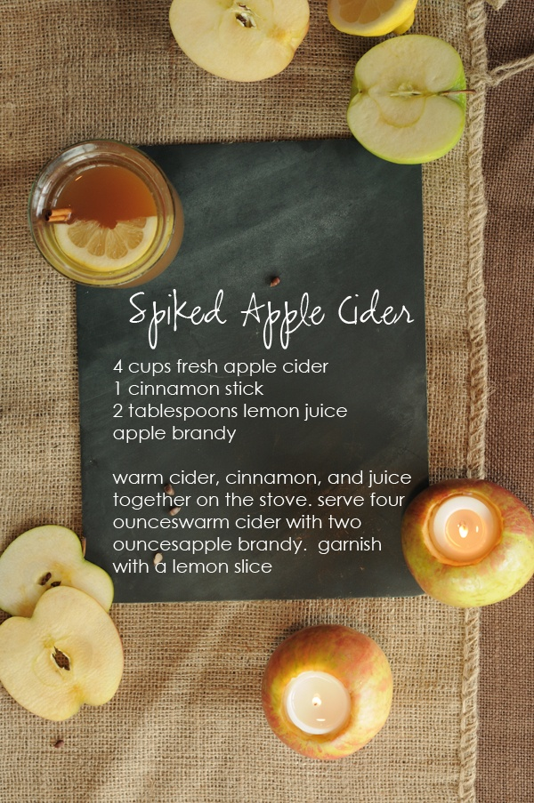 Spiked Cider. Serve in mason jars. Super cute and fun for a holiday ...
