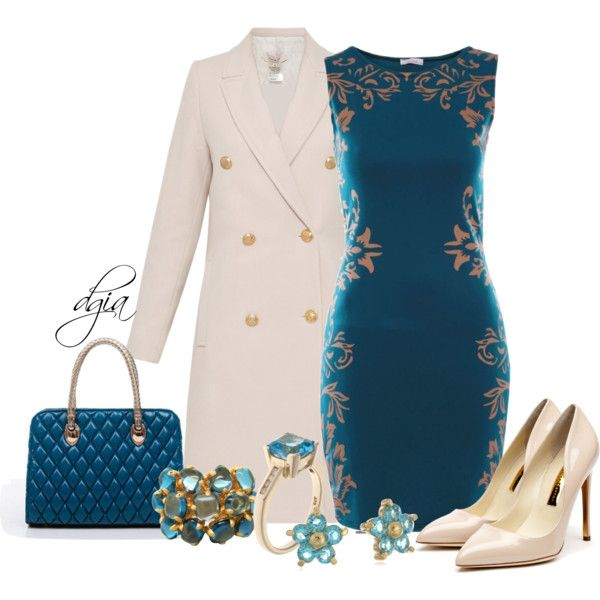 Turquoise Bodycon Dress with a PAUL & JOE Gold Button Wool Coat and dainty accessories.  Gorgeous.