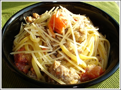 ... top of the Hill: Fettuccine with Creamy Tomato Italian Sausage Sauce