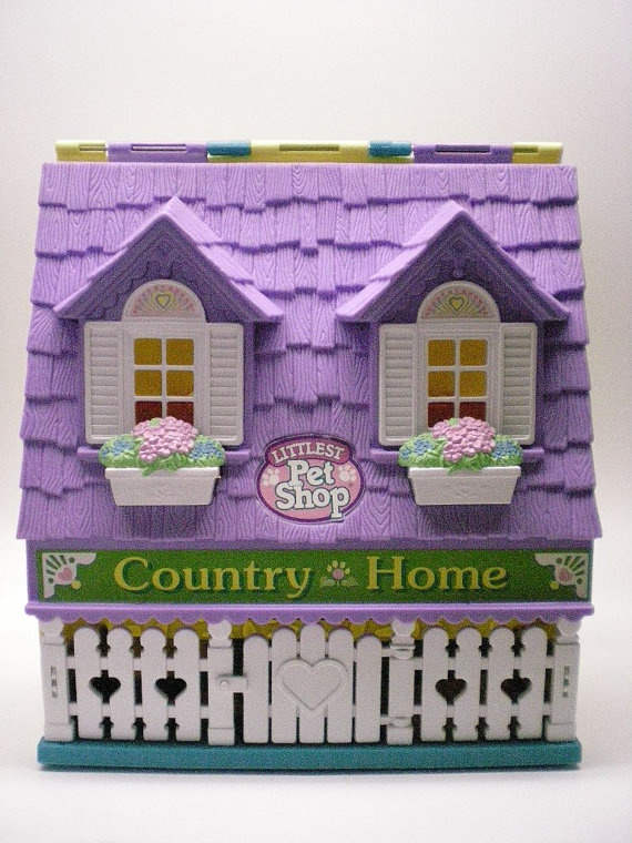 Vintage Littlest Pet Shop Country Home Carry Case Playset 1996 Kenner
