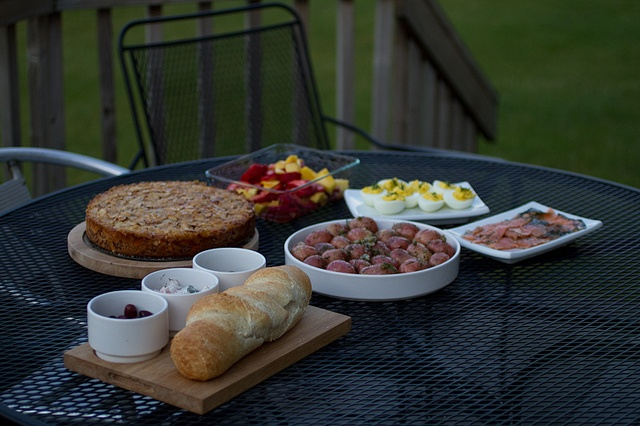 ... Home made bread, Deviled Dill Eggs, Fruit and simple syrup, & Olives