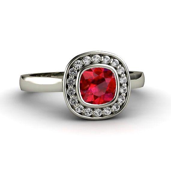 Ruby Engagement Ring Bezel Set Cushion With Diamond Halo 14K Gold Cus