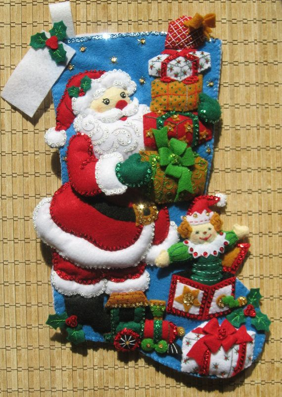 Completed Bucilla Christmas Stocking Gifts from by HollyCreations, $125.00