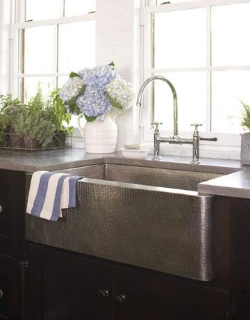 Porcelain Apron Front Sink : drooling. I love apron front sinks, but I dont like porcelain because ...