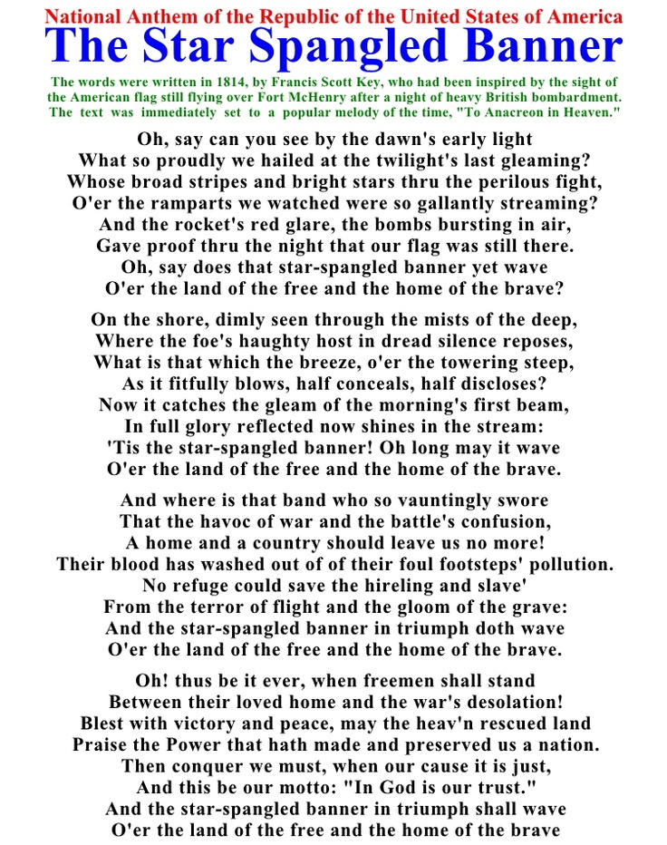 This is a photo of Hilaire Star Spangled Banner Lyrics Printable