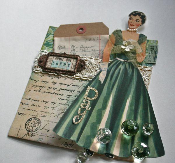 Урожай бумажная кукла карманные украшен бумажная кукла усиливает картон карман.  Заполните карман с бирками или подарочные карты!