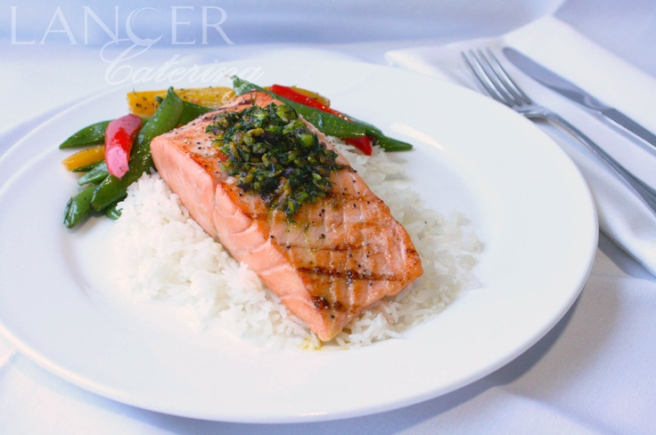 Salmon, Dill Pistachio Pistou, Snap Peas with Mixed Bell Peppers ...