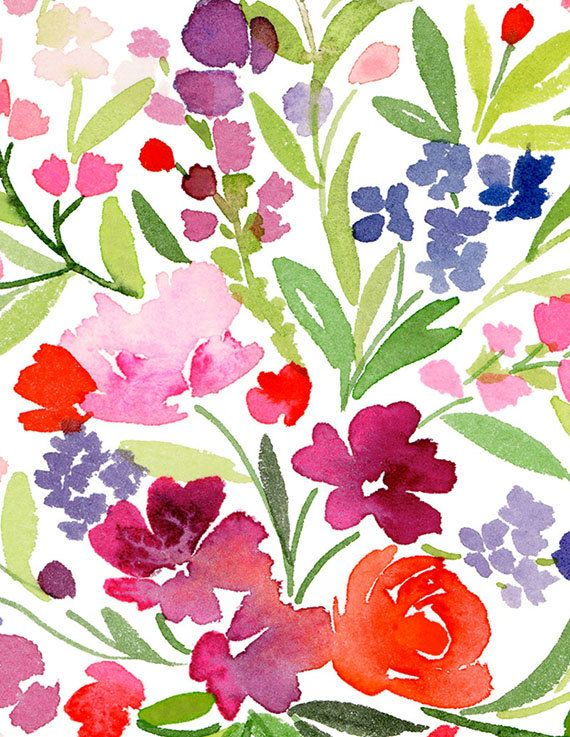 Handmade watercolor archival art print field of spring for Spring flowers watercolor