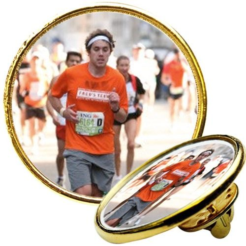 Custom Photo Gold Lapel Pin | Personalized Running Gifts | Pinterest: pinterest.com/pin/200691727117605091