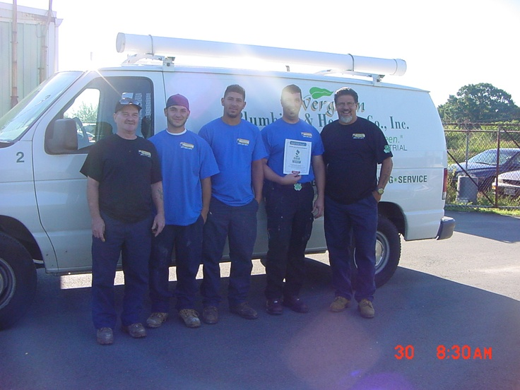 The boys over at Evergreen Plumbing & Heating Co., Inc. in Warwick, RI with their BBB Accreditation Certificate