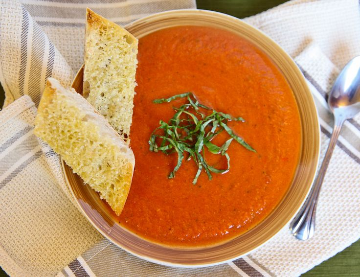 Tomato Basil Bisque with Parmesan-Garlic Toast