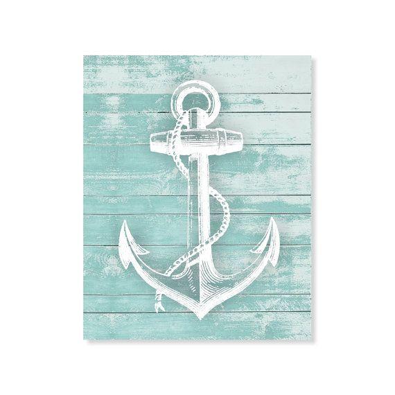 Anchor print wood print rustic art beach nautical print for Beach house prints