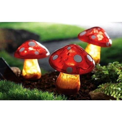 solar powered garden mushrooms my mad tea party pinterest