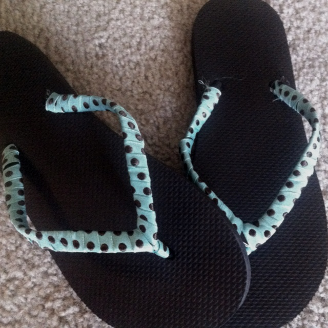 Dress up flip flops with ribbon for under two dollars!