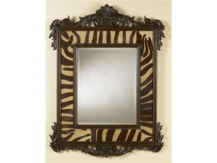 Maitland Smith Accessories Carved Parisian Walnut Finish Mirror Faux Zebra Hair Hide Leather