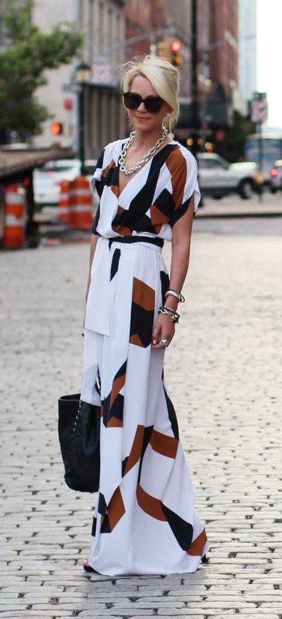 White, Black & Brown Design, Belted Maxi Dress