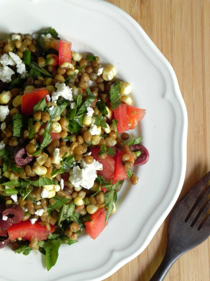 lentil summer salad. No feta, sub the tomato for red peppers?