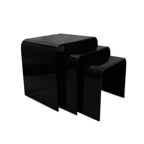 Solid Black Acrylic Perspex Set 3 Nested Table Nest Of Tables Coffee
