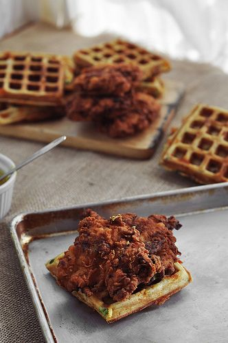 Buttermilk fried chicken and bacon cheddar green onion waffles
