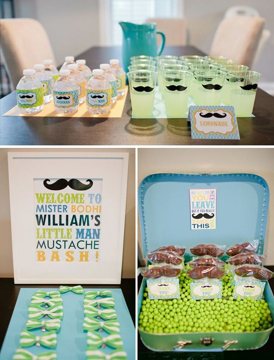 I love me a mustache birthday party- this one uses Bella June printables and little details that are really adorable