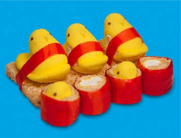 Peeps on Rice Krispie treats!   Rice Krispies   Pinterest