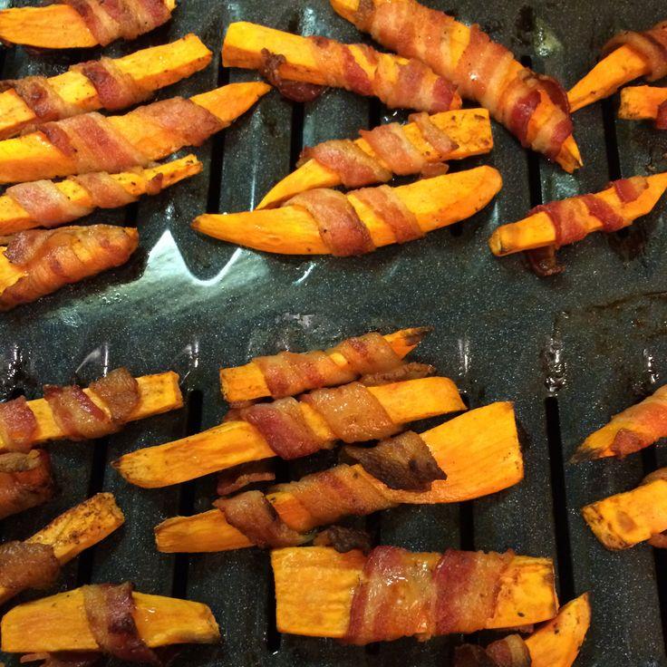 Bacon-Wrapped Sweet Potato Fries. Crazy good.