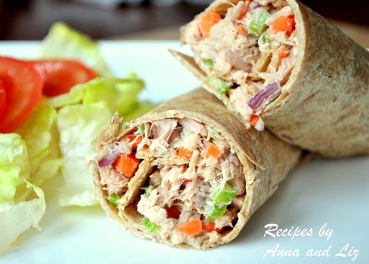 Tuna Salad in a Wrap - Lightened! | Time to get HEALTHY!!! | Pinterest