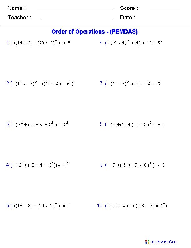 ... of operations worksheets order of operations worksheets for practice