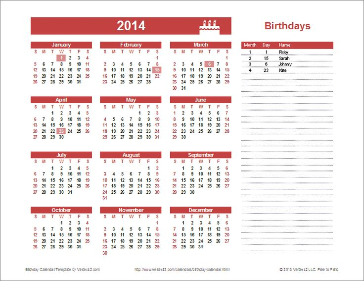 Yearly Birthday Calendar Template for Excel: You can ...